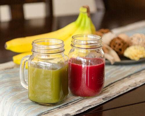 fresh green juice and beet juice